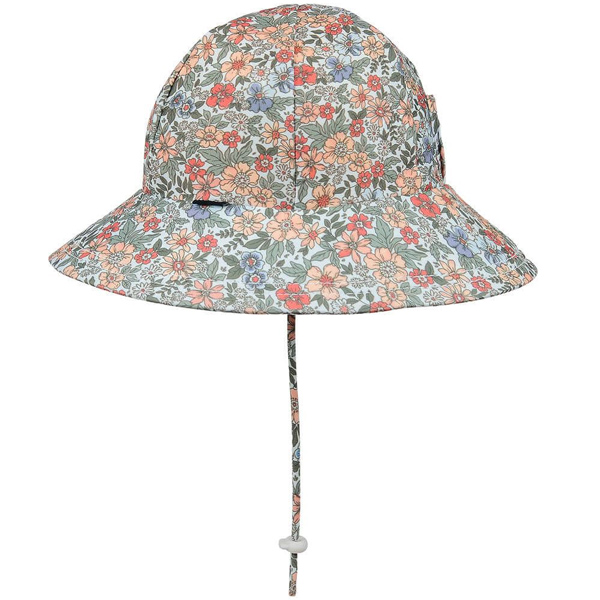 Girls Swim Hat Bucket Flower Side