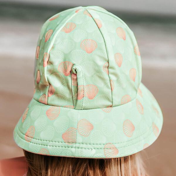 Girls Swim Hat Bucket Seashell Model Back