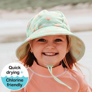 Girls Swim Hat Bucket Seashell Model Front