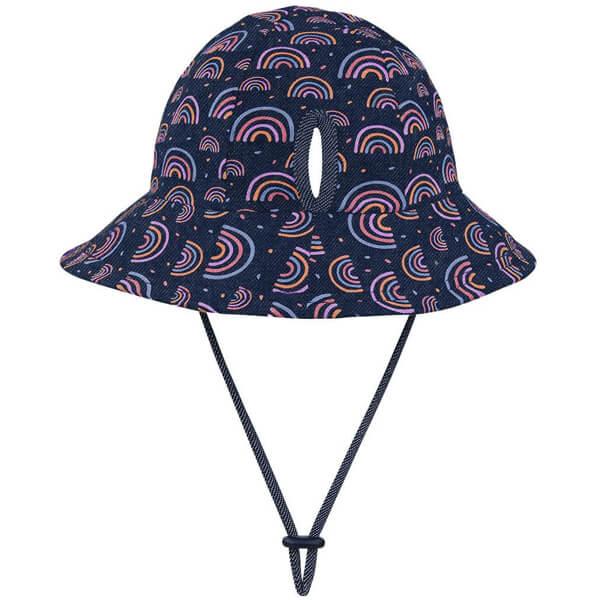 Kids Bucket Ponytail Hat Rainbow Back