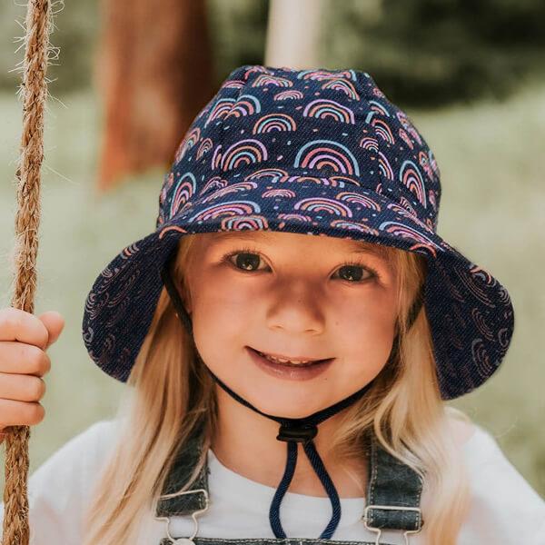 Kids Bucket Ponytail Hat Rainbow Model Front
