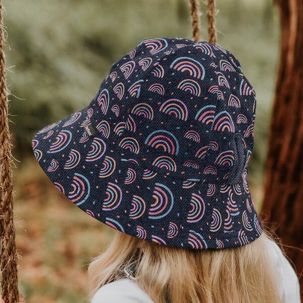 Kids Bucket Ponytail Hat Rainbow Model Side