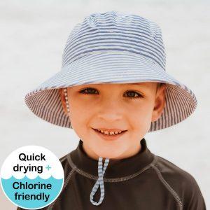 Kids Swim Hat Bucket Stripe Model Front